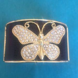 Crystal&Gold Butterfly Black background Bracelet